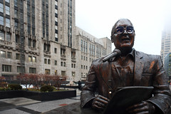 Brickhouse In the Rain (Anthony Mark Images) Tags: jackbrickhousestatue chicago chicagotribune michiganave magnificentmile illinois usa bronzestatue anouncer microphone paper newspaper nikon d850 rain raindrops
