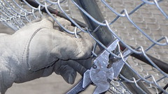 Securing chain link fencing