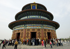 Temple Of Heaven, Beijing, China (Eric Lafforgue) Tags: mg0076 ancientcivilization architecture asia beijing buildingexterior china chineseculture city clearsky cloud colorpicture day digitalenhancement dome famousplace groupofpeople heaven history horizontal internationallandmark lowangleview monument nationallandmark ornate outdoor pagoda pekin placeofinterest placeofworship realpeople roof spirituality temple templeofheaven tourism traditionallychinese travel traveldestinations vertical