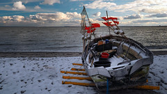 Fishing boat at the winter beach - waiting for the next tour (Ostseeleuchte) Tags: winterbeach snow balticsea fishingboat ostsee sierksdorf fischerboot winter schnee sky clouds wolken himmel
