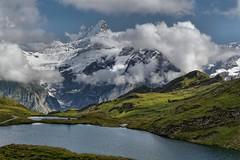 Bachalp (Tjaldur66) Tags: mountains mountainlake swissmountains swissalps switzerland berneseoberland lake lakeshore clouds rocks peak panorama view outdoor hiking grindelwald first glacier