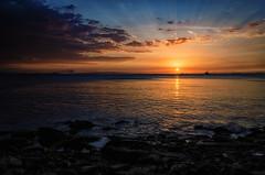 Perfect Symphony...!!! (Nita_Fotos) Tags: sun sundown sunshine clouds blue orange sol atardecer amanecer nubes naranja cielo mountain montañas reflection reflejos trees arboles agua backligh contraluz stones piedras océano water caribbeansea marcaribe lecheria venezuela tuniñasalvajedelaselva