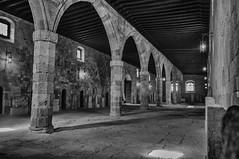 Sala Principal Hosp of the Knights (MiguelVP) Tags: greece rhodes blackandwhite bw stone columns ancient castle hospital knights