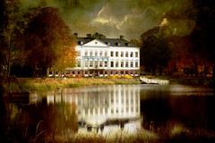 Mansion at the water. (BirgittaSjostedt) Tags: house mansion architecture paint painting old antique park autumn reflections texture art fineart water tree building sky landscape