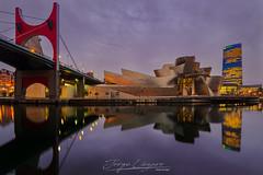 Guggenheim Bilbao (www.jorgelazaro.es) Tags: lleida night arquitectura landscape urbano llena bizkaia azul paísvasco paisaje amanecer bilbao sunrise vizcaya guggenheim museo ciudad españa luces es