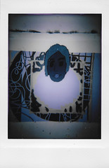 Jenny on a Painting (H o l l y.) Tags: lomography instax mini instant film analog flash photography character tapestry fiber art rughooking painting studio retro indie vintage weird