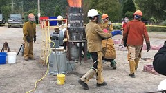 Iron Pour (Restless Eye) Tags: iron furnace blastfurnace coke artists sculpture casting molten metal smoke campus students
