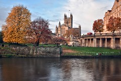 Across the river (Nige H (Thanks for 15m views)) Tags: nature landscape cityscape autumn city bath cityofbath autumncolours bathabbey trees