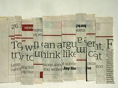 Headline ! (jesse1dog) Tags: newspaper headline cat arguement print jayheinrichs strips arrangement displaced upsidedown gm1 olympuszuikoomautomacro50mm 50mm