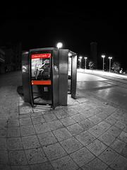 kiosks (chrisinplymouth) Tags: telephone kiosk night fisheye public plymouth devon england uk city cw69x selectivecolour color popping desx diagx camminante xg diagonal plain