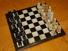 1970's Onyx Chess Board and Pieces ... (Davey Z (1)) Tags: 1970s onyx chess set board pieces bishop knight rook pawns queen king mexico white black tan colors heavy davey z 1 2 3