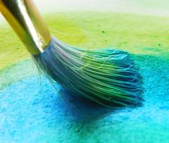 Brush with Paint to Paper (shercredeur) Tags: macro macrodreams macromondays hmm brush paint paper watercolor intendedcontact