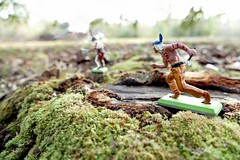 Hunting the Hunter - Saturday Knights (MayorPaprika) Tags: panasoniclumixdmcfz1000 mini figs figure paprihaven pvc miniature smallscale figurine diorama toy story scene custom bricks plastic vinyl britains deetail england 1971 wildwest