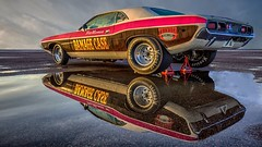 Power reflected (waynedavey67) Tags: canon canoneos5dmkiiil 5dmkiii 1635mmlf4 santapod dragster dragracing car racecar reflection puddle power engine