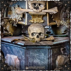 Each of the columns has a beautifully painted faux marble finish on the wooden structure, in blue-grey tones, with contrasting faux white marble painted wainscoting inserts in the pedestal. (To be continued...) . 💀Turn on post notifications, click l (Sedlec Ossuary Project) Tags: sedlecossuaryproject sedlec ossuary project sedlecossuary kostnice kutnahora kutna hora prague czechrepublic czech republic czechia churchofbones church bones skeleton skulls humanbones human mementomori memento mori creepy travel macabre death dark historical architecture historicpreservation historic preservation landmark explore unusual mechanicalwhispers mechanical whispers instagram ifttt