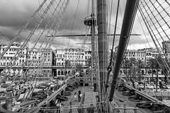 Confusion (petia.balabanova(tnx for +4 million views)) Tags: genova italy italia nikon nikond800 2470mm travel monochrome blackandwhite bw boat confusion lines city cityscape citylife