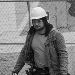 Winter's Day Work (clarkcg photography) Tags: man safetyglasses hardhat work workclothes tools streetphotography tulsa downtown blackandwhite blackwhite bw candid