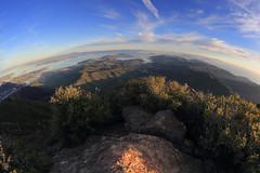 East Peak Panorama (fksr) Tags: landscape mounttamalpais eastpeak marincounty california sanfranciscobay pacificocean sanpablobay rocks hills mountain horizon sky fisheye
