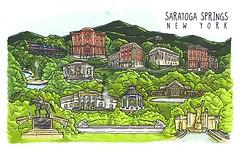 02 maliciaguilucha (Rocky's Postcards) Tags: saratoga springs ny newyork postcard buildings maliciaguilucha illustration lanternpress linedrawing