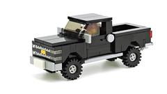 Black Off-Road Pickup (de-marco) Tags: lego truck pickup car vehicle 5stud town city black offroad