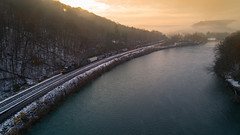 Confluence : Atmospheric Mornings (benpsut) Tags: csx csxkeystonesub csxq349 csxt5121 casselmanriver confluence dji djiphantom4pro draketown pennsylvania river beautiful blue drone golden hazy morning phantom4prophantom railroad trains unitedstates us