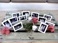 Wedding: Bride's History Display (dimaruss34) Tags: newyork brooklyn dmitriyfomenko image greece antiparos display pictures table candles flowers