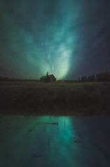 Under of the cold flames (petrisalonen) Tags: northernlights auroraborealis revontulet landscape night nightscape photoshop astrophotography nightphotography reflection nature luonto finland suomi green blue clouds stars white duck barn advent art dark space water