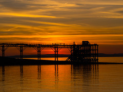 The Sun has set for Good (RS400) Tags: sun set orange yellow cool wow amazing sky clouds black pier old weston super mere water sea olympus travel uk southwest south west photography good 2018