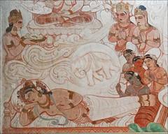 Le songe de la reine Maya, mère du futur Bouddha (Temple Mulagandhakuti Vihāra, Sârnâth, Inde)