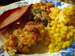 Leftover Plate. (dccradio) Tags: lumberton nc northcarolina robesoncounty indoor indoors inside sony cybershot dscw230 december friday fridayevening fridaynight evening winter food eat ham meat veggies vegetables stuffing filling dressing corn greenbeancasserole hashbrowncasserole crunchtoppotatoes bakedbeans greatnorthernbakedbeans meal supper dinner lunch snack