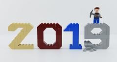 Happy new year 2019🎉 (Alex THELEGOFAN) Tags: lego legography minifigure minifigures minifig minifigurine minifigs minifigurines 2019 year happy new blue red tan gray stone
