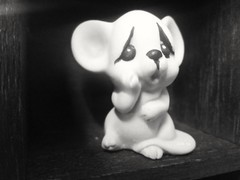Sad and Lonely, Worried little Mouse. (PhotoJester40) Tags: indoors mouse bnw blackwhite blacknwhite blackandwhite noirblanc figurine amdphotographer