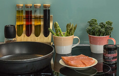 Cooking in my kitchen [explored] (Christine Schmitt) Tags: 0352 2019p52 favourite things kitchen cooking utensils oil asparagus salmon tenderstem broccoli lavasalt pepper pan stove explore explored