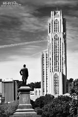 Pittsburgh's Cathedral (Hi-Fi Fotos) Tags: pitt universityofpittsburgh college campus building pittsburgh statue oakland schenleypark mono bw blackandwhite nikon d7200 dx hififotos halelwell