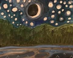 Crescent Moon, stars, trees, lake, waves (dnassler) Tags: nightlight shore calm starlight moonlight water trees stars crescentmoon moon painting lake night