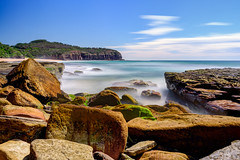 Rushing the channel (JustAddVignette) Tags: algae australia beach cloudmotion clouds cloudy colours early headland landscapes longexposure newsouthwales northernbeaches ocean rocks sand seascape seawater sky sydney turimetta water waves