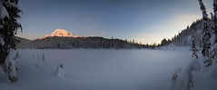 Reflection Lake Sunrise Panorama (Steve Kody) Tags: rainier mtrainier mountrainier mtrainiernationalpark mountrainiernationalpark tahoma nationalpark backpacking camping trekking trail backpack sunrise morning alpenglow mountain volcano glacier snow snowcap cascades pacificnorthwest pnw december steve kody stevekody canon 5d canon5d 5dmkiv canon5dmarkiv ef1635 ef1635mmf4l wonderland wonderlandtrail reflectionlake reflectionlakes paradise louiselake