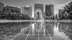 Pool of Reflection (Mikey Down Under) Tags: sydney white bw mono monument poolofreflection reflection water pond hydepark centre war memorial museum station anzac australia city hdr black