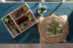 Embroidery set (kinmegami) Tags: snowdrops embroidery miniature 16 onesixthscale doll barbie diorama shabbychic