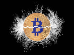 Bitcoin broken in half with water splash (wuestenigel) Tags: half market cut water splash background bitcoin finance coin bear money mining digital bussiness bullmarket broken crash cryptocurrency btc symbol desktop sign zeichen noperson keineperson image bild design flag flagge abstract abstrakt geld dark dunkel halving halvening