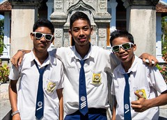 OM170844 Bali Water Palace (Dave Curtis) Tags: bali school boys 3 sunglasses cool 2014 em5 may omd olympus