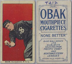 "1910 T212-2 Obak Cigarettes Baseball Card (175 Subjects / ""None Better"" #21 on Back) - CHARLES ""SPIDER"" BAUM (Pitcher) (Sacramento Sacts / Pacific Coast League) (Pacific Coast League Hall of Fame 1945)  (#133) (Treasures from the Past) Tags: t212 tobaccocard tobacco 1909 1910 1911 cigarette cigarettecard americantobaccocompany t212obak obak baseballcard vintage californiabranch obakmouthpiececigarettesbrand mouthpiececigarettes nwl northwestleague northwesternleague pcl pacificcoastleague spiderbaum halloffame sacramentosacts pitcher"