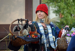 Pretty Things for Sale (MTSOfan) Tags: parf vendor wicker basket sale hat redhat souvenirs colorful blonde scarf