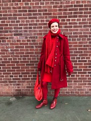 Day 3: RED (Selma Morgenstern) Tags: fashion streetstyle style whatiwore vintage outfitoftheday outfit tenuedujour ootd reused recycled secondhand thrifting thrifted sustainablefashion red redclothes monochrome colorfuloutfit nyc