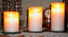 Electric Candlelight  (SoS) (myphotomailbox) Tags: rotterdam netherlands strevelsweg indoor clock curiouscandles smileonsaturday kaarsen electro