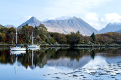 Glencoe and environs (Lonnie1963) Tags: glencoe scotland outdoors mountains snow loch lochs water beautiful landscape autumn weather sailing boat reflections