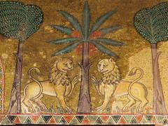 Deux lions & un palmier (Jean (tarkastad)) Tags: italie italia italien italy tarkastad sicile sicilia sicily roman romanesque mosaics mosaïque