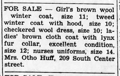 1948 - Vernice Huff sells clothes at 209 S Center - Enquirer - 23 Sep 1948