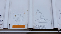 Witchhat 2011-2075 - Railroad Monikers (Coastal Elite) Tags: moniker train monikers railroad hobo atlantic canada hoboart hobograffiti streaks railway freight trains tags tagging writing graffiti bench benching transport transportation travel rail road chemindefer voieferrée maritimes halifax novascotia chalk boxcarart boxcars boxcar northamerica hands symbol handshake joined hand fingers witchhat chapeau sorcière witch hat