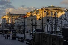 Krakowskie Przedmieście in the rays of the setting sun (Adam Nowak) Tags: odbicia zachódsłońca warszawa architektura zeiss batis1885 cienie